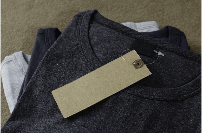 Loop tie attaches tag to clothing
